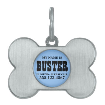 Custom Blue Dog Tag Pet ID Tags