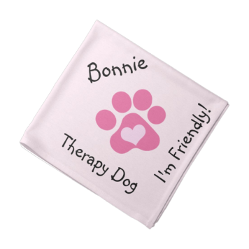 Pink Paw Therapy Dog Neckerchief Bandanna