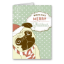 Cute Pug In Santa Hat Greeting Card
