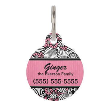 Retro Pink and White Fern Custom Pet Nametags
