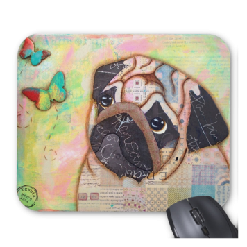 Pug and Butterflies Mouse Pad