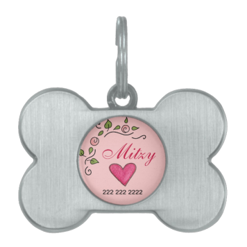 Heart & Flower Dog Tag Pet Tag