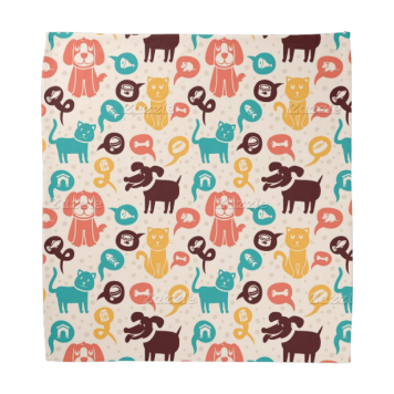 Pattern With Funny Cats And Dogs Bandana