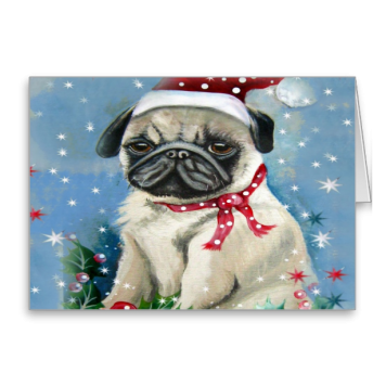 Holiday Pug Dog Design Greeting Cards