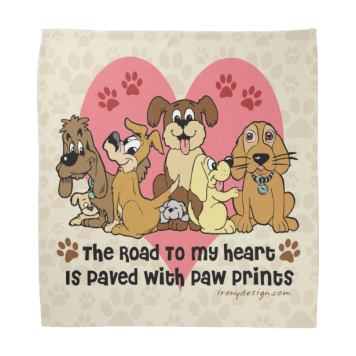 The Road To My Heart Dog Paw Prints Kerchiefs