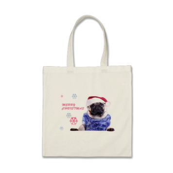 Christmas Pug In Santa Hat Bag