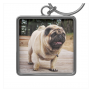 Lion Pug On The Stairs Keychain