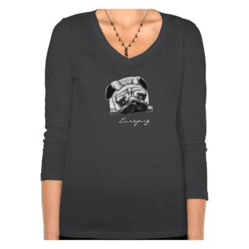 Europug The Sad Face Womens V-Neck 3/4 Sleeve Shir Tshirts