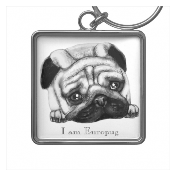 Europug The Sad Face Premium Square Keychain