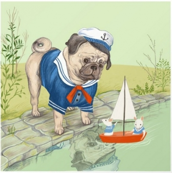 sailor pug art print