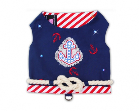 Navy Striped Dog Harness Vest