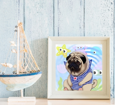 pug sailor art