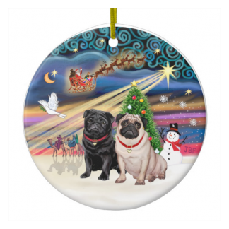 Xmas Magic - Pugs (TWO-fawn+black) Christmas Tree Ornaments