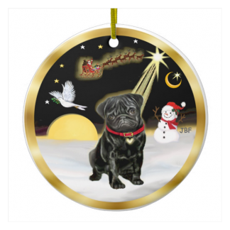 Black Pug Christmas Ornaments