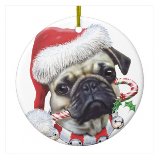 Puggy Christmas Ornament