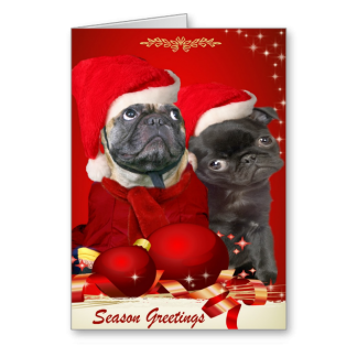 Pug Christmas Pals Greeting Card