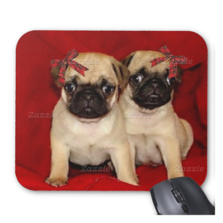 Christmas Pug Puppies Mousepad