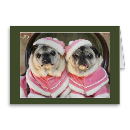 Pug Sisters in Pink Christmas Cards