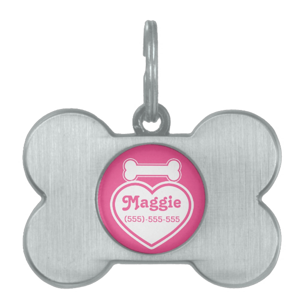 Pink And White Heart And Bone Pet Tag