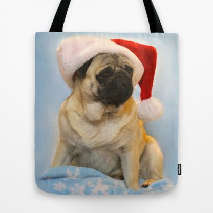 Christmas Pug Tote Bag
