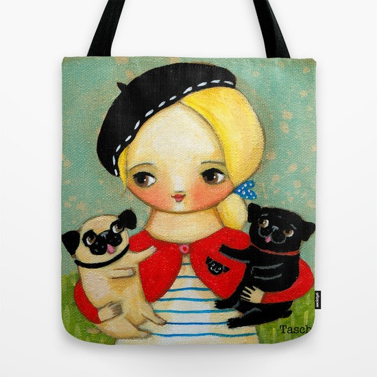 French Girl with Black Pug Bag