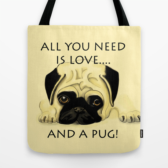 Love Pug Tote Bag
