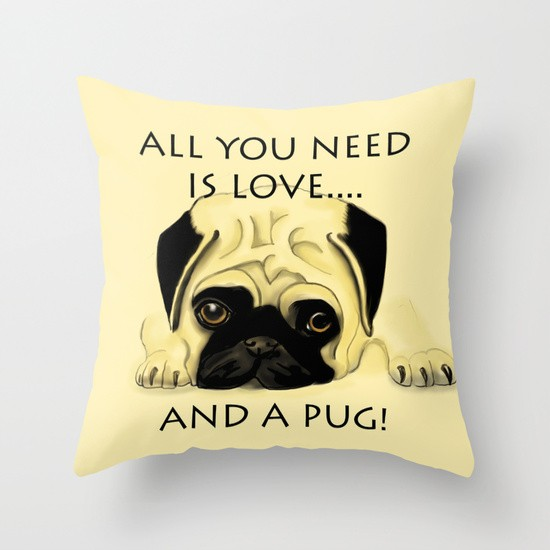Love And A Pug Pillow
