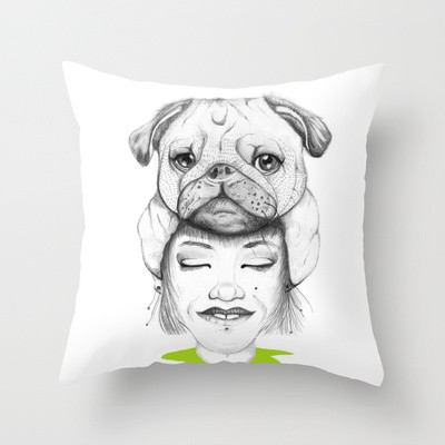 Mystic Pug Throw Pillow