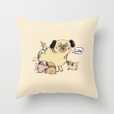 Pug And Baby Pugs Pillow