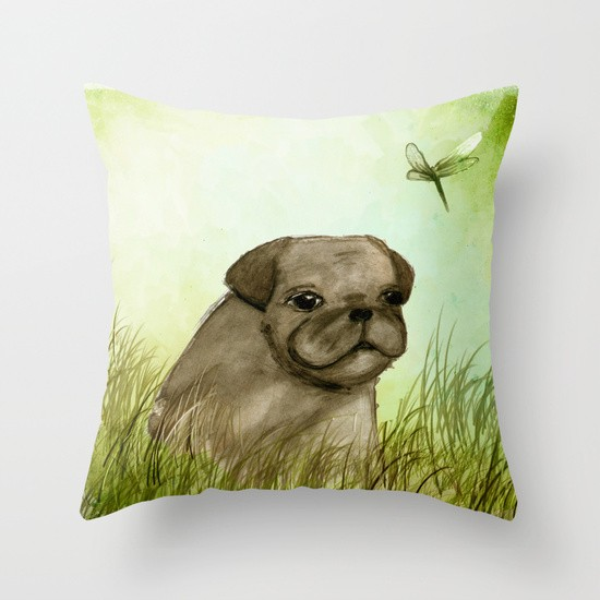 Pug In The Grass Pillow