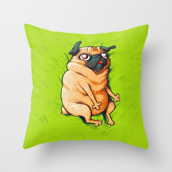 Pug Roll Throw Pillow