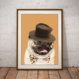 pug with hat art print