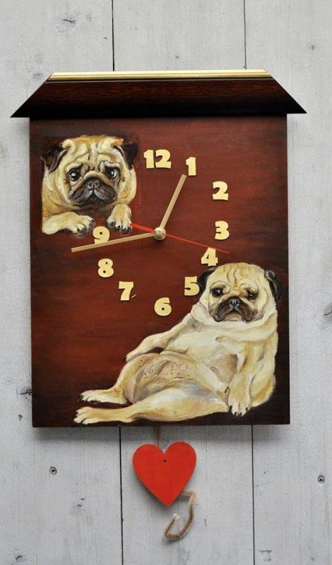 Wall Clock With Pug Painted