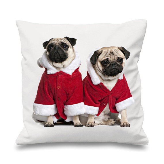 Pug Santa Christmas Cushion