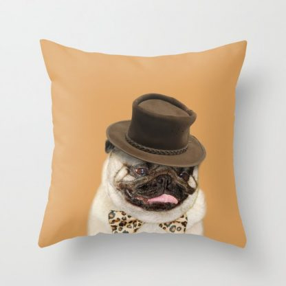 Dog Pug with Hat Pillow