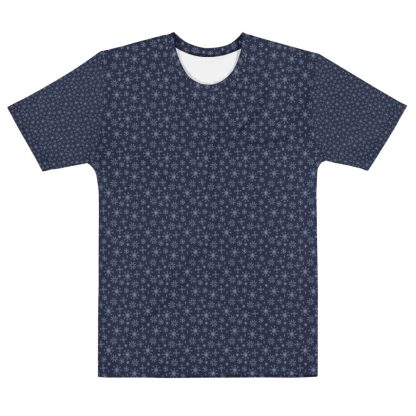 Christmas Pattern Snowflakes All Over Mens Navy T-Shirt