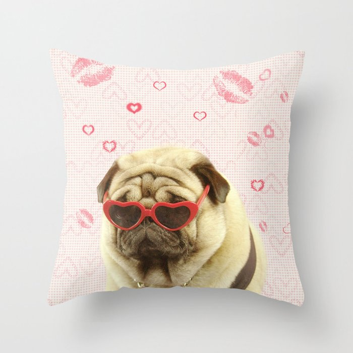 Pug in Sunglasses, Pugs and Kisses Pink Pillow