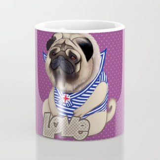 Sailor Pug Dog with Purple Dot Pattern Coffee Mug