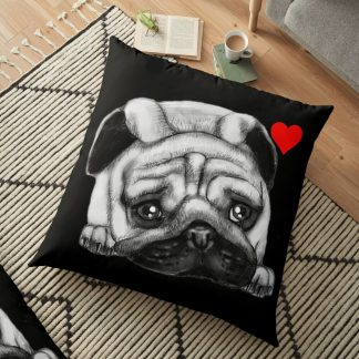 Black Drawing Face Pug Floor Pillow