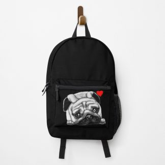 Black Drawing Face Pug Backpack