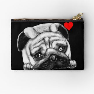 Black Drawing Face Pug Zipper Pouch