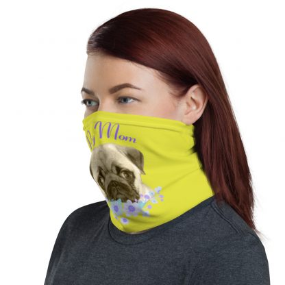 DogFace Pug Mom Puppy Face with Flowers Neck Gaiter