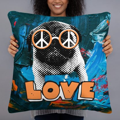 Pug Peace Love Dog Lover Basic Pillow