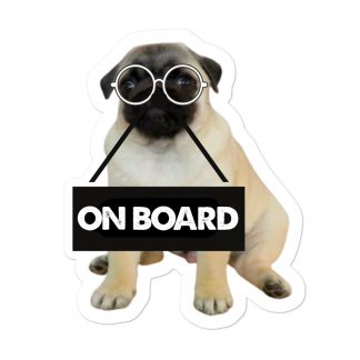Pug Puppy on Board Car Decal Back Window Bumper Stickers