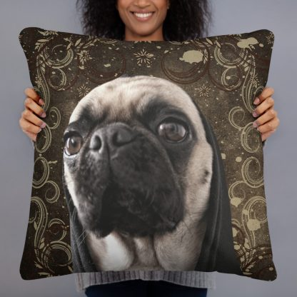 Pug Life Funny Dog Hoodie Parody Hipster Vintage Pillow