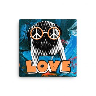 Pug Peace Love Dog Lover Canvas