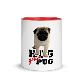 Hug Your Pug Cute Pug Puppy White Ceramic Mug with Color Inside