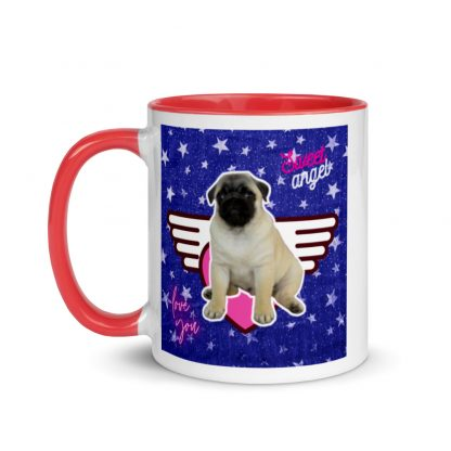 Pug Puppy Sweet Angel Heart | Vintage Silver Stars Mug with Color Inside