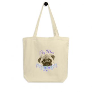 DogFace Pug Mom Puppy Face with Flowers Eco Tote Bag
