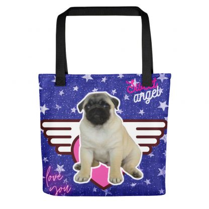 Pug Puppy Sweet Angel Heart | Vintage Silver Stars All-Over Tote Bag
